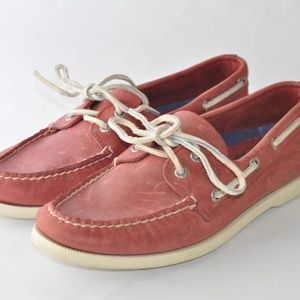 Sperry Topsider Mens Red Leather Shoes size 8.5